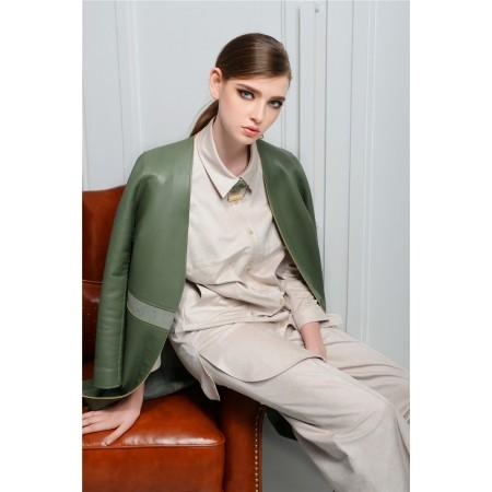 韩国高档女装大码品牌气质长款皮外套大衣厂家