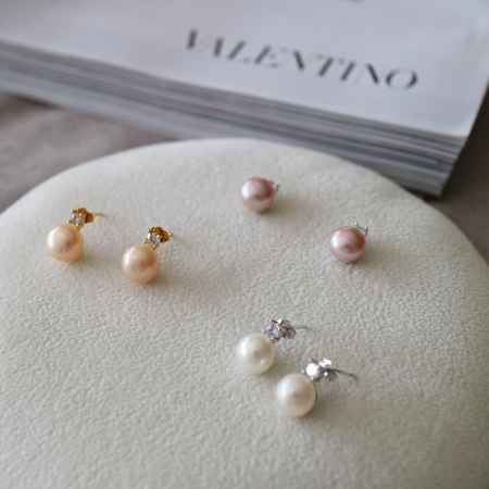 宝石镶嵌珍珠耳钉