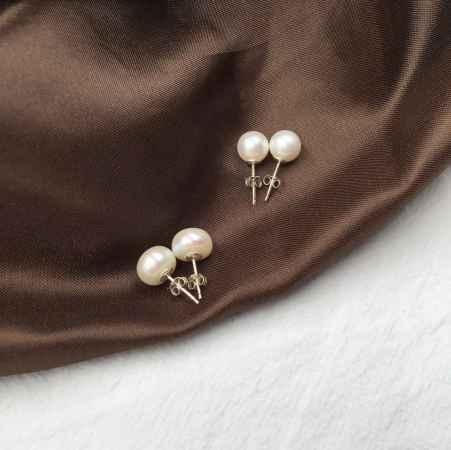 天然珍珠耳钉